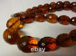 Antique 19C Faceted Natural Baltic Cognac Cherry Amber Necklace 41.2gr