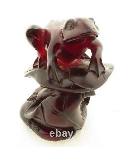 Antique 19th Century Hand Carved Cherry Amber Frog on Lotus / Lily Pad