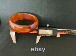 Antique Amber Bakelite Cherry Butterscotch 2 Bangles Veined Marble Rare Old 87 g