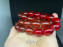 Antique Amber Bakelite Cherry Prayer Beads Rosary 1519 Rare Simichrom Test 106g