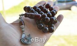 Antique Amber Faturan Red Cherry Bakelite Catalin, Worry Prayer Beads Tesbih