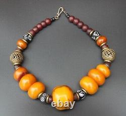 Antique Amber Honey Cherry copal Moroccan Berber necklace