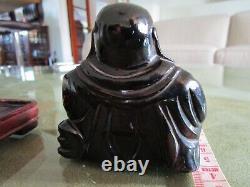 Antique Art Deco 1930's Chinese Carved Cherry Amber Bakelite Faturan Buddha 143g