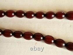 Antique Art Deco Cherry Amber Bakelite Bead Necklace