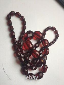 Antique Art Deco Cherry Amber Bakelite Bead Necklace 27g