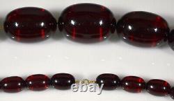 Antique Art Deco Cherry Amber Bakelite Chained Bead Necklace C. 1920