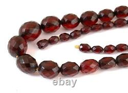 Antique Art Deco Cherry Amber Bakelite Facetted Beads Necklace 53.3g