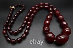 Antique Art Deco Cherry Amber Bakelite Faturan Beads Necklace 145g
