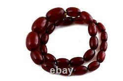 Antique Art Deco Cherry Amber Bakelite Necklace Swirls Veining 35g