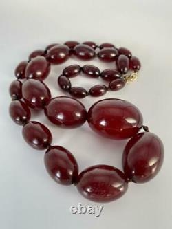 Antique Art Deco Cherry Red Amber Bakelite Graduated Beads 85cm Necklace 1920's