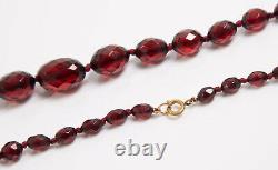 Antique Art Deco Faceted Cherry Amber Bakelite Bead Necklace