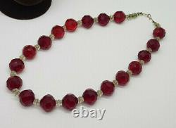 Antique Art Deco Faceted Cherry Amber Glass & Other Beads Necklace 16 Long