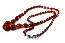 Antique Art Deco Facetted Cherry Amber Bakelite Necklace 50g 33ins