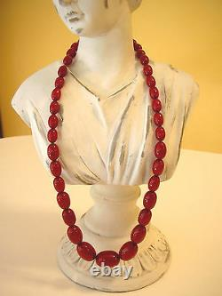 Antique Art Deco Natural Baltic Amber Oval Egg Cherry Red Faturan Necklace 25