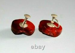 Antique Art Deco Natural Cherry Amber Sterling Silver Earrings