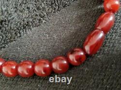 Antique Art Deco Swril Cherry Amber Marble Bakelite Necklace