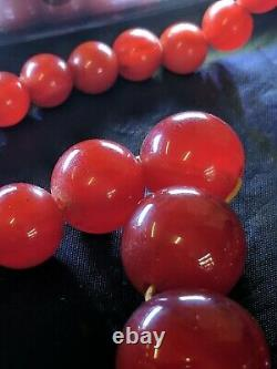 Antique Art Deco Swril Cherry Amber Marble Bakelite Necklace 53.9
