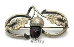 Antique Art Nouveau Coin Silver Cherry Amber Acorn Oak Leaves Brooch Pin