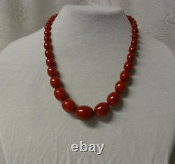 Antique Barrel Oval Luxury Natural Baltic Cherry Amber Bakelite Necklace