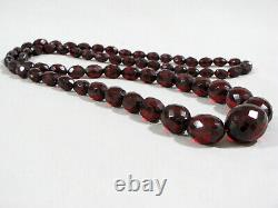 Antique CHERRY AMBER FACETED GRADUATED BEAD NECKLACE 32 56 grams