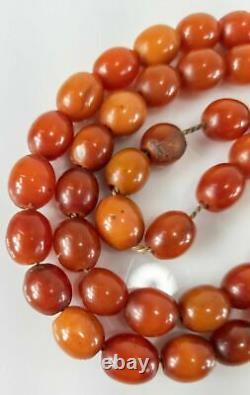 Antique Carved Cherry Amber Bakelite Faturan Prayer Necklace Catalin 56.1g