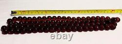 Antique Cherry Amber BAKELITE 85 Bead Necklace 140+ Gram 45 Long Art Deco