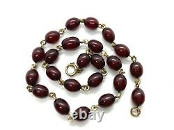 Antique Cherry Amber Bakelite Bead Rolled Gold Short Coker Necklace 14.5