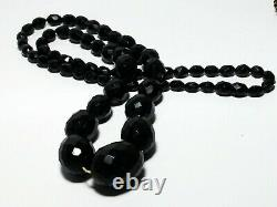 Antique Cherry Amber Bakelite Facetted Graduate Bead Necklace 58 Grams