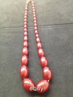 Antique Cherry Amber Bakelite Faturan Beads Necklace 52 Gram