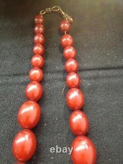 Antique Cherry Amber Bakelite Faturan Beads Necklace 52 Gram Marbled