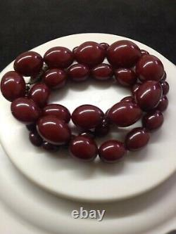 Antique Cherry Amber Bakelite Faturan Beads Necklace 56 Gram Marbled