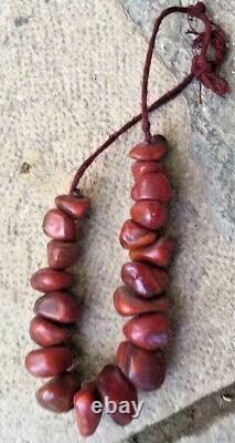 Antique Cherry Amber Bakelite (Faturan) Big Necklace. Rare natural Shaped Beads