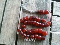 Antique Cherry Amber Bakelite Faturan Misbaha Tesbih Old Prayer Beads Veins 46gr