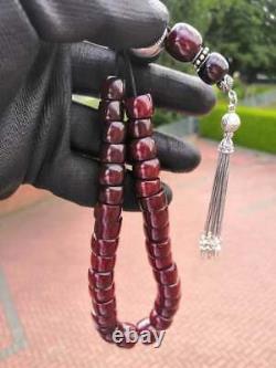 Antique Cherry Amber Bakelite Faturan Misbaha Tesbih Old Prayer Beads Veins 67gr