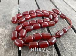 Antique Cherry Amber Bakelite Faturan Tesbih Misbaha Old Prayer Beads Veins 39gr
