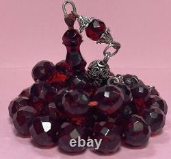 Antique Cherry Amber Facetted Faturan Bakalite -islamic prayer 33 Beads 51g R3