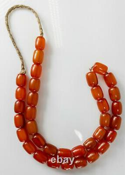 Antique Cherry Amber Honey Bakelite Faturan Catalin Prayer Necklace 54.2 grams