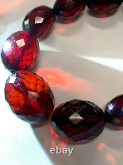 Antique Cherry Amber Necklace Victorian Faceted Beads