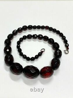 Antique Cherry Amber Necklace Victorian Faceted Beads with closure