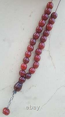 Antique Cherry Amber Rare Faturan Bakelite Prayer Islamic Beads Veins Misbaha