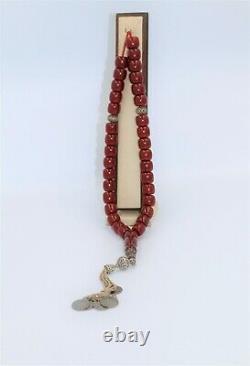 Antique Cherry Amber Rare German Faturan Bakelite Prayer 70 years Beads Misbaha