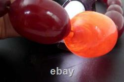 Antique Cherry Amber Red Bakelite Faturan Art Deco Beads Graduated Necklace 48gr