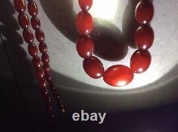 Antique Cherry Red Amber Bakelite Beads Necklace 62 G C. 1920s Swirls Marbling