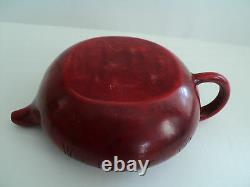 Antique Chinese Bright Cherry Amber Individual Teapot Incised Decoration