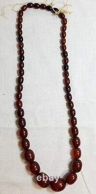 Antique Chinese Cherry Amber Bakelite Prayer Necklace Catalin Faturan