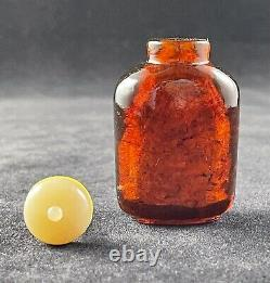 Antique Chinese Cherry Amber Carved Snuff Bottle