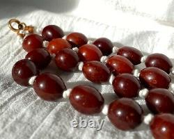 Antique Chinese Qing Ming Baltic Butterscotch Cherry Amber Bead Necklace