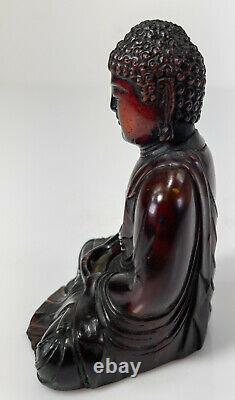 Antique Chinese Sino Tibetan Cherry Baltic Amber Seated Buddha Figure