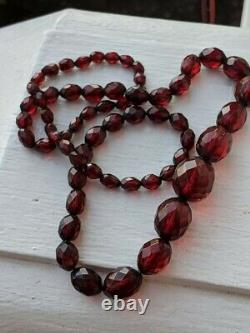 Antique Deco Cherry Amber Bakelite Faceted Beads Long Bead Necklace Edwardian