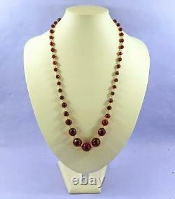 Antique Faceted Amber Bakelite Long Necklace -art Deco